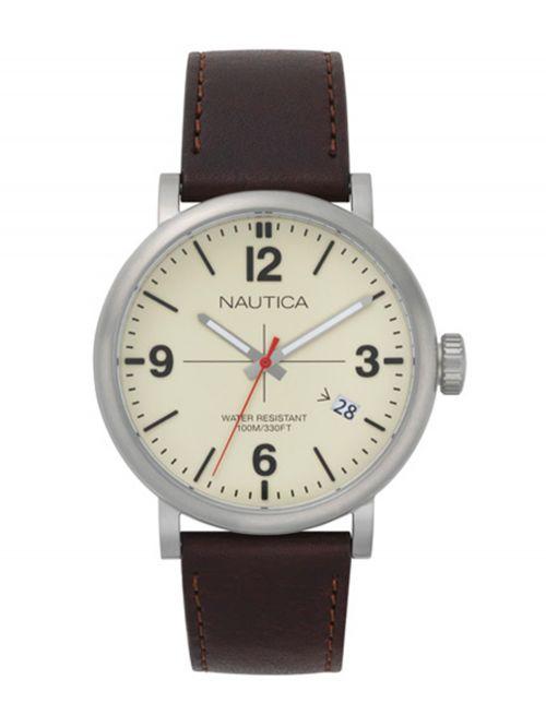 שעון יד NAUTICA לגבר עם רצועת עור דגם NAPAVT001