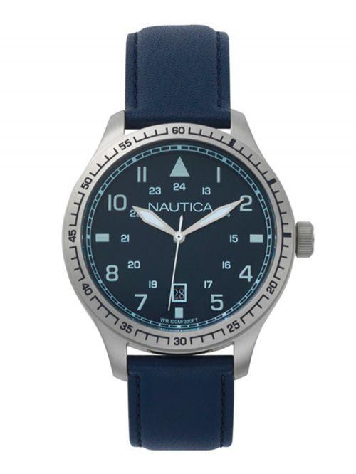 שעון יד NAUTICA לגבר עם רצועת עור דגם NAPB05001