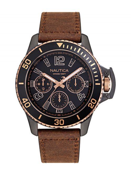 שעון יד NAUTICA לגבר עם רצועת עור דגם NAPBSF918
