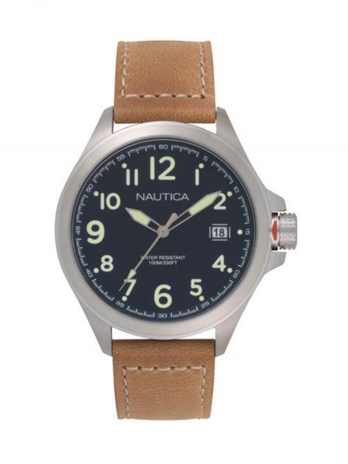 שעון יד NAUTICA עם רצועת עור דגם NAPGLP002