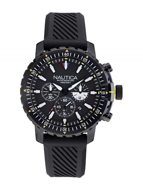 שעון יד NAUTICA לגבר רצועת סיליקון שחורה דגם NAPICS009