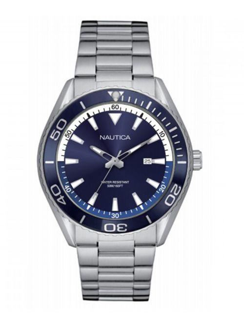 שעון יד NAUTICA לגבר רצועת מתכת כסופה דגם NAPN03006