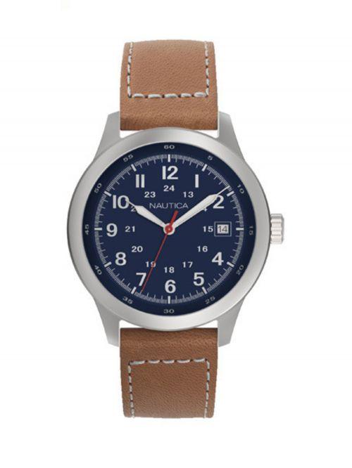 שעון NAUTICA לגבר עם רצועת עור דגם NAPNTI802
