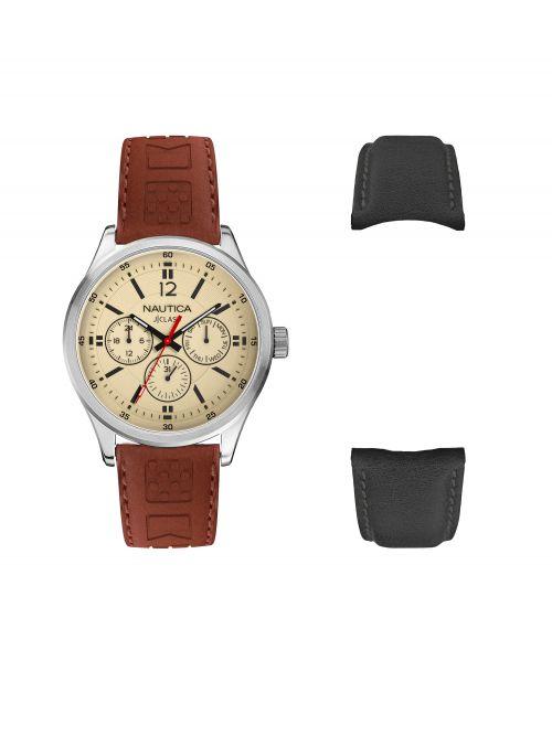שעון יד NAUTICA לגבר עם רצועת עור בצבע חום + רצועה בצבע שחור דגם NAPNTI806