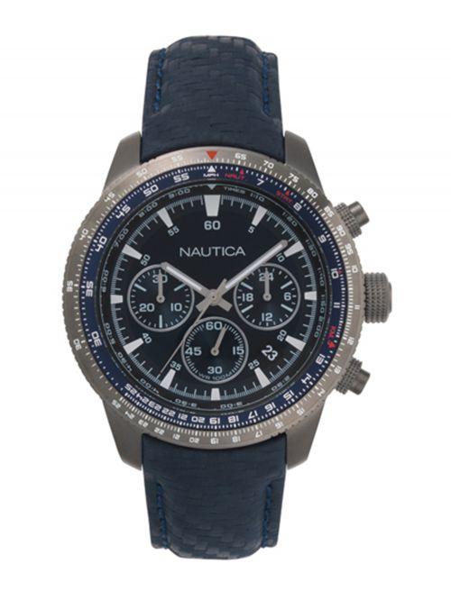שעון יד NAUTICA כרונוגרף לגבר עם רצועת עור דגם NAPP39002