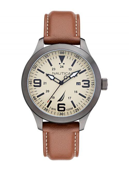 שעון יד NAUTICA לגבר רצועת עור חומה דגם NAPICS009