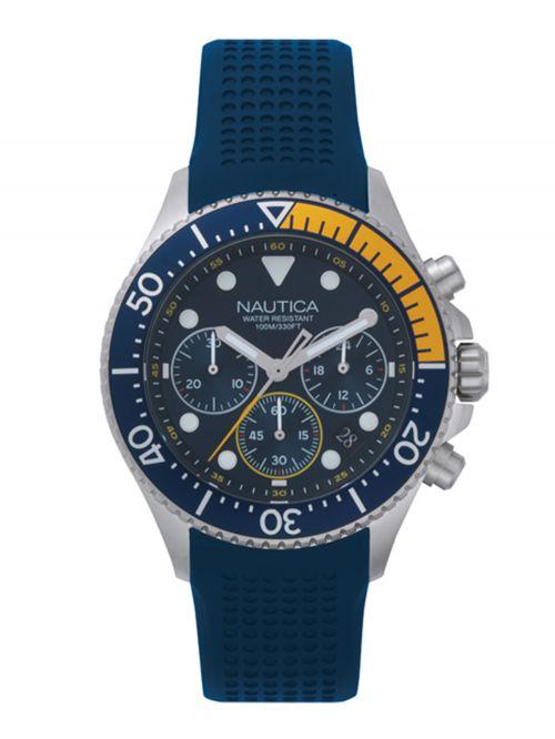 שעון יד NAUTICA כרונוגרף לגבר עם רצועת סיליקון דגם NAPWPC002