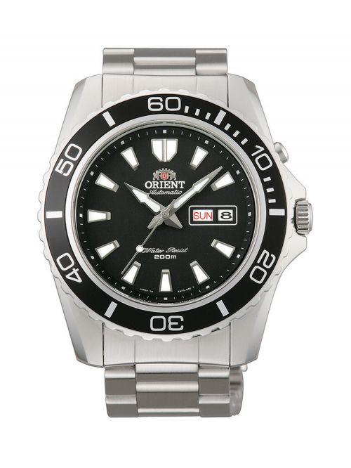 שעון צלילה אוטומטי ORIENT לגבר עם רצועת מתכת דגם FEM75001BW