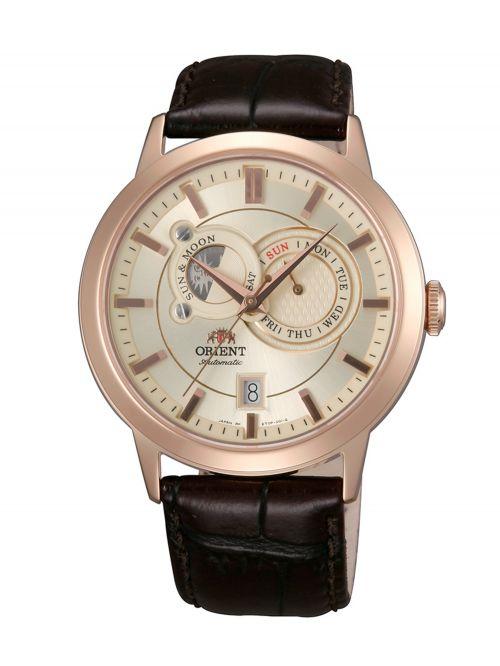 שעון יד ORIENT אוטומטי לגבר עם רצועת עור קולקציית SUN & MOON דגם ET0P001W0