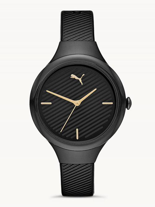 שעון לאישה PUMA בצבע שחור רצועת סיליקון דגם P1020