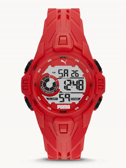 שעון דיגיטלי לגבר PUMA בצבע אדום   דגם P5040