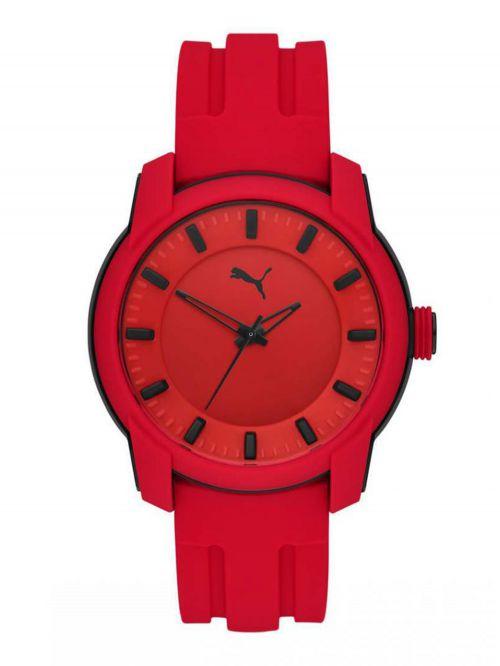 שעון לגבר PUMA בצבע אדום רצועת סיליקון דגם P6019