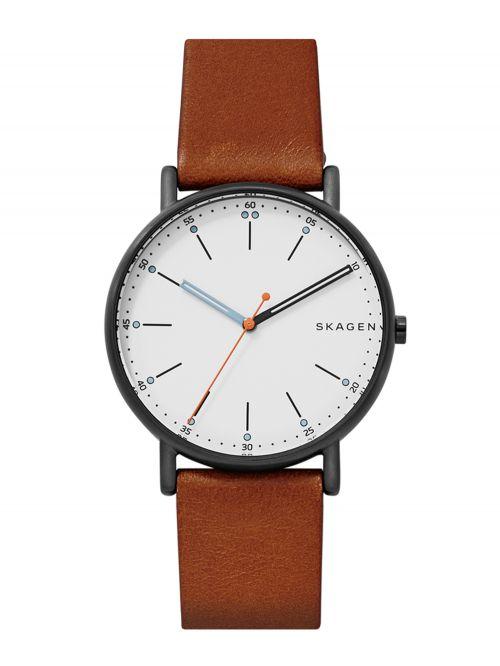 שעון SKAGEN לגבר עם רצועת עור קולקציית SIGANTUR דגם SKW6374
