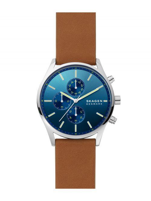 שעון יד SKAGEN לגבר עם רצועת עור קולקציית HOLST דגם SKW6732