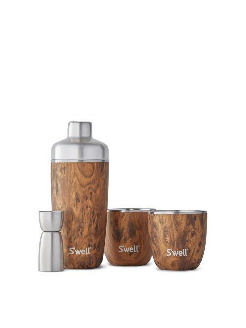 סט איכותי להכנת קוקטיילים מבית S'well כולל שייקר נירוסטה מבודד ושתי כוסות מקולקציית Wood