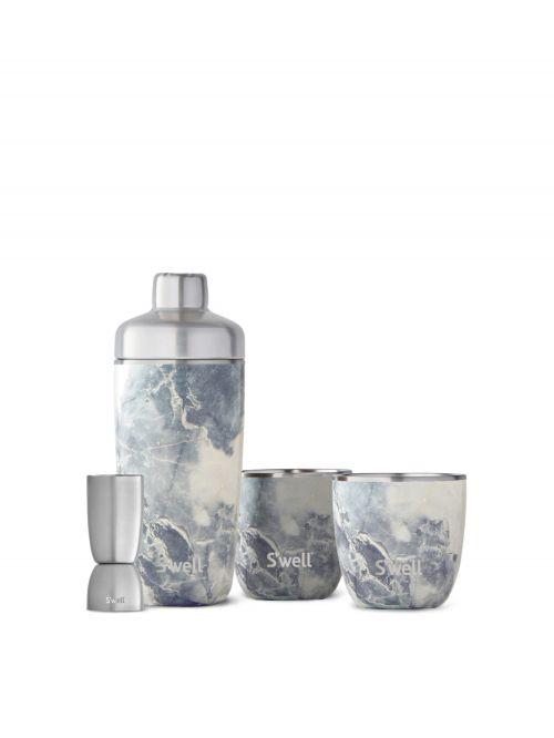 סט איכותי להכנת קוקטיילים מבית S'well כולל שייקר נירוסטה מבודד ושתי כוסות
