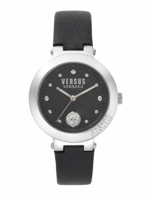 שעון יד  VERSUS VERSACE עם רצועת עור שחורה דגם SP370117