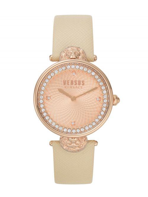 שעון יד VERSUS VERSACE עם רצועת עור בצבע שמנת דגם VSP331318