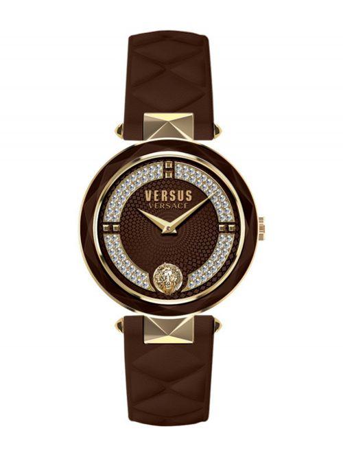שעון יד  VERSUS VERSACE עם רצועת עור חומה דגם VSPCD2918