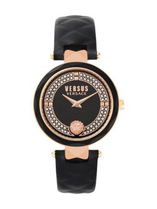 שעון יד  VERSUS VERSACE עם רצועת עור שחורה דגם VSPCD3018