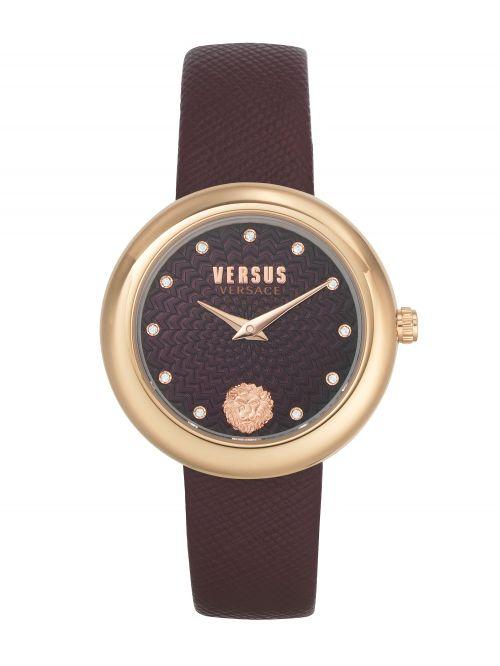 שעון יד VERSUS VERSACE עם רצועת עור בורדו VSPEN1320