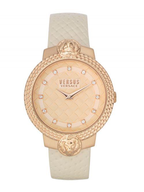 שעון יד  VERSUS VERSACE עם רצועת עור שמנת דגם VSPLK1320