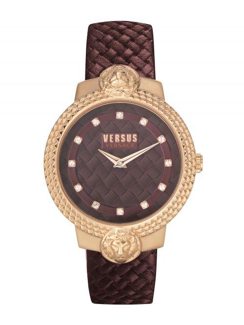 שעון יד VERSUS VERSACE עם רצועת עור בצבע בורדו דגם VSPVP0320