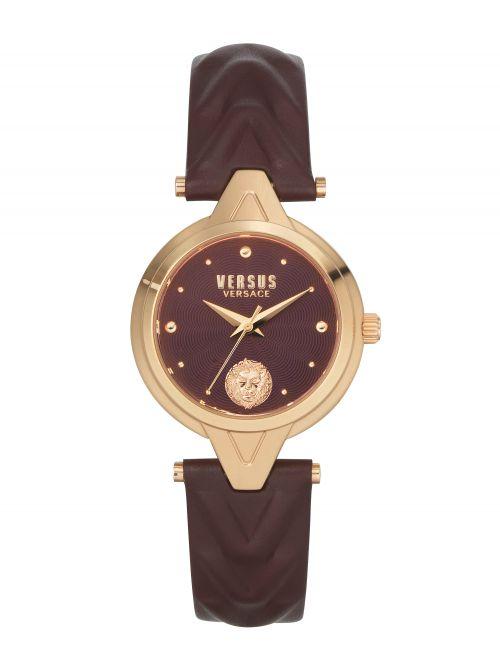 שעון יד  VERSUS VERSACE עם רצועת עור בורדו דגם VSPVN0520