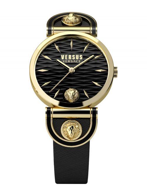 שעון יד VERSUS VERSACE עם רצועת עור שחורה דגם VSPVP0220