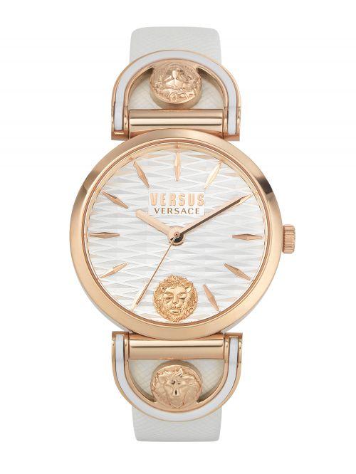 שעון יד VERSUS VERSACE עם רצועת עור לבנה דגם VSPVP0320