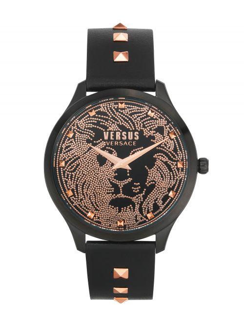 שעון יד  VERSUS VERSACE עם רצועת עור שחורה דגם VSPVQ0620